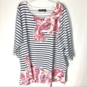 Susan Graver Tunic Top Paisley Print Striped